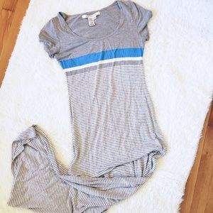 Max Studio | Gray & Blue Striped Maxi Dress